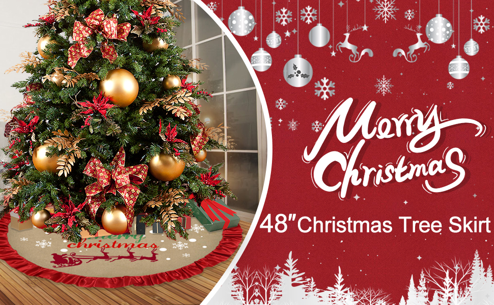 PartyBus Burlap Chirstmas Tree Skirt 48/'/'