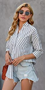HOTAPEI Womens Casual V Neck Long Sleeve Button Down Collar Blouses and Tops