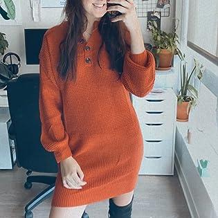 Women Winter Long Sleeve Sweater Dress V Neck Button Henley Long Knit Mini Dress Loose Fit Pullover