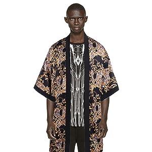 Men's Luxury Design Print Shawl Casual Short Sleeve Drape Cape Lightweight Open Front Cardigan