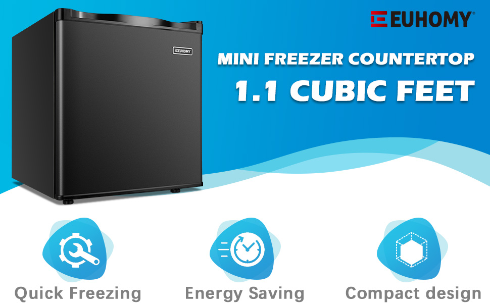 Euhomy Mini Freezer Countertop, 1.1 Cubic Feet, Single Door Compact Upright Freezer with Reversible Door, Removable Shelves, Small freezer for Home/Dorms/Apartment/Office(Black)