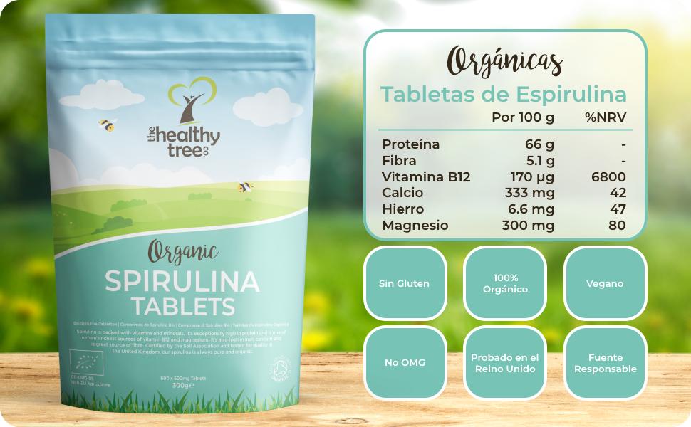 Tabletas de Espirulina Orgánica de TheHealthyTree Company - Vegano, Alta en Vitamina B12, Proteína, Magnesio, Hierro y Calcio - Espirulina Pura ...