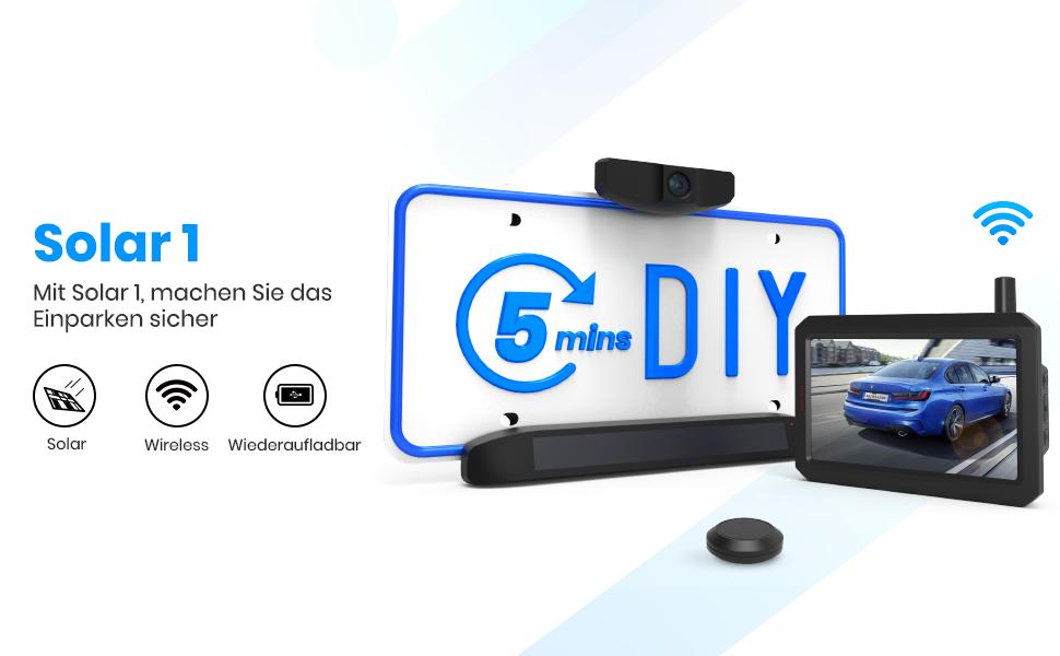 Auto Vox Solar Kabellos Rückfahrkamera Set 5 Min Diy Elektronik