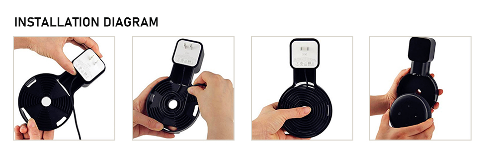 gesti/ón de cables sin tornillos accesorio de soporte de punto adecuado para enchufe en cocina ba/ño dormitorio Soporte de pared para Echo Dot 3/ª generaci/ón negro