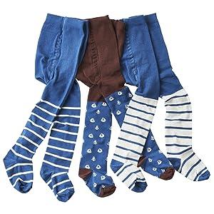 Baby-und Kinderstrumpfhosen braun/blau Anker