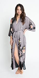 KIM+ONO Women's Crepe Kimono Robe Blush Rose Dusk