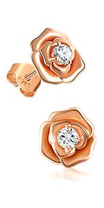 sterling silver earrings rose