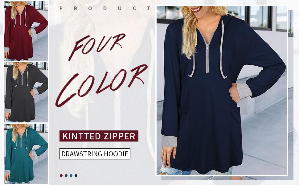 Vivilli Women's Thin Tunic Hoodies Long Sleeve Zip Up Sweatshirts Pullover Blouse Tops …