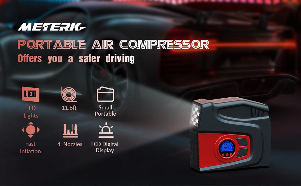 Meterk Portable Air Compressor Tire Inflator Air Pump for Car Tires DC 12V Tire Pump