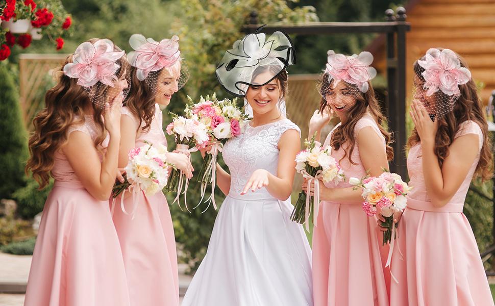pink fascinators for women