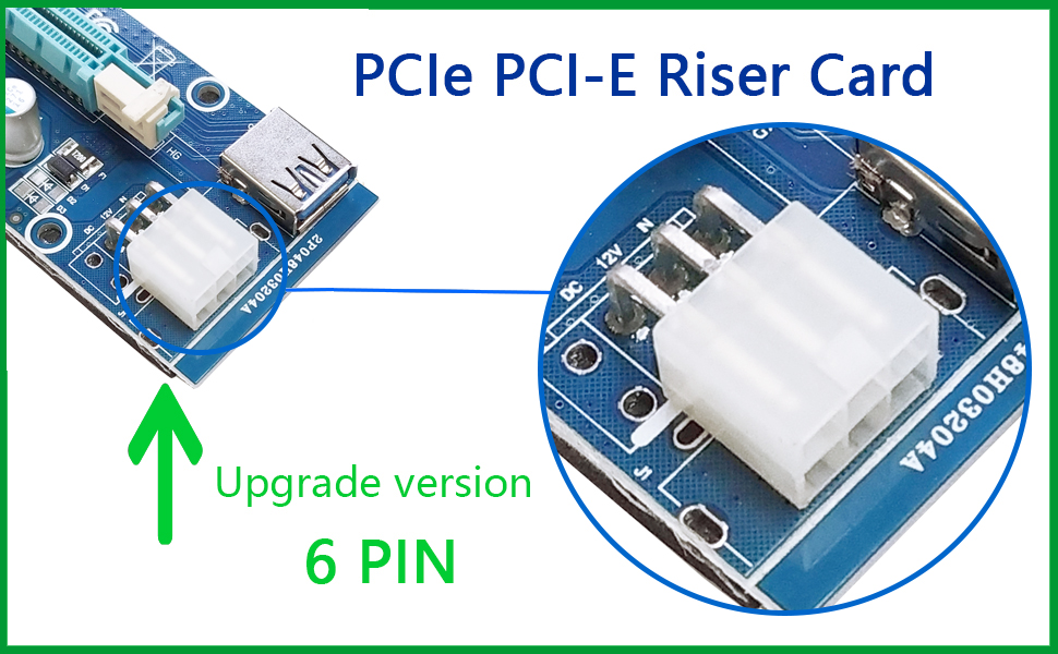 YIKESHU Riser Card 1 Pack PCIe PCI-E 16 x 8X 4 x 1x Powered Riser Adapter Card w//60cm USB 3.0 Extension Cable /& 6-Pin PCI-E to SATA Power Cable