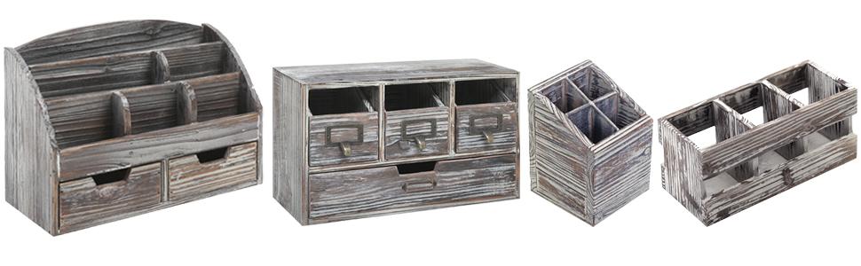 Details about  /Vintage Wooden 3 Compartment Desktop Office Supplies Storage Organizer Remote