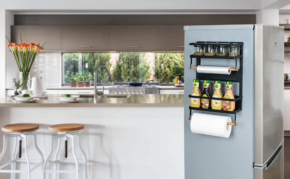 Rebrilliant Magnetic Fridge Spice Rack Organizer 4 Tier Mounted Storage  Paper Towel Holder