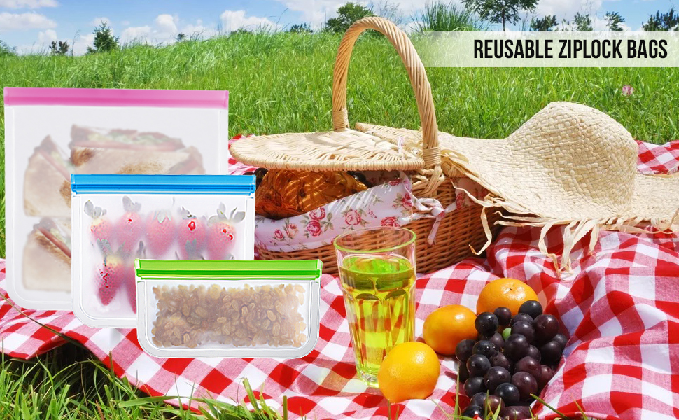 reusable, freezer, bags, jar, sandwich, dishwasher, safe, gallon, bpa, free, zip, top, silicone