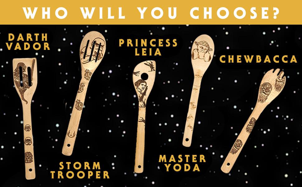 Darth Vador, Storm Trooper, Princess Leia, Master Yoda, Chewbacca Bamboo Wood Spoons