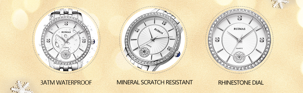 Women's Watch Analog Quartz Waterproof Wristwatch with Stainless Steel Strap