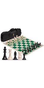 Regulation Tournament Roll-Up Staunton Chess Set with Travel Bag - Green