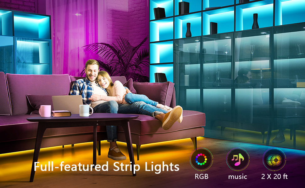 Amazon Com 40ft Led Strip Lights Phone App Control With Ir Remote Built In Mic Music Sync Led Lights For Bedroom Dorm Room Home Decoration 40ft App Remote Mic Control Home Improvement