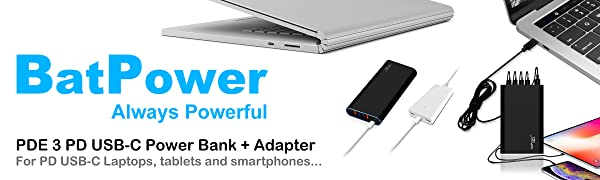 BatPower PDE3 USB-C Power Bank Portable Charger