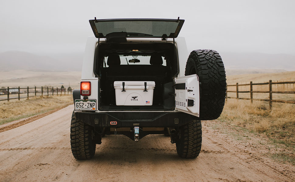 ORCA Coolers ina  jeep