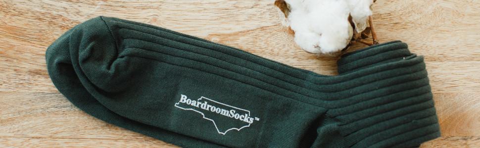 Olive Green Pima Cotton Over the Calf Dress Socks