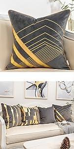 Grey gold velvet pillow cover