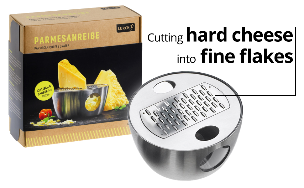 Lurch Germany Razortech Stainless Steel Parmesan Grater with Container and Lid