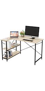 computer desk with storage shelves