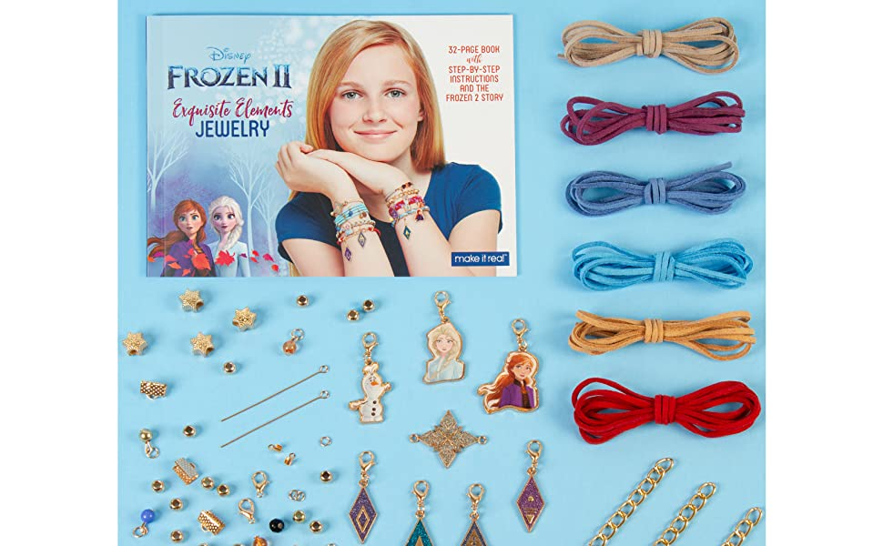 Disney Inspired DIY Charm Bracelet Making Kit for Girls Make It Real Faux Suede and More Beads Design and Create Girls Bracelets with Frozen 2 Charms Disney Frozen 2 Elements Jewelry Set
