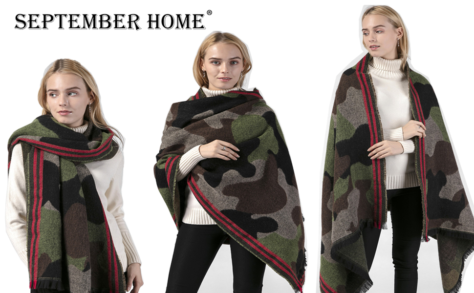 New Shawl Wrap Scarf Large One Poncho Cape Soft Pashmina Blanket Winter Camo