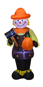 AJY 6 FT Fall Thanksgiving Harvest Inflatable Scarecrow Holding Pumpkin