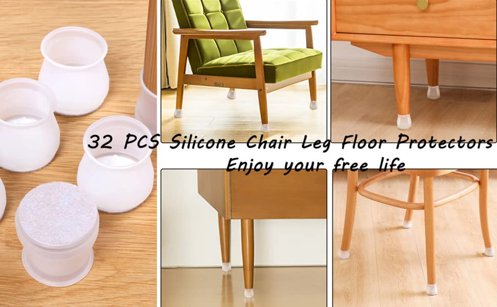 SIYI-XIU 32 PCS Silicone Chair Leg Protectors Chair Leg Floor Protectors Table Round Legs Covers Non Slip Anti-Scratches 17-21mm