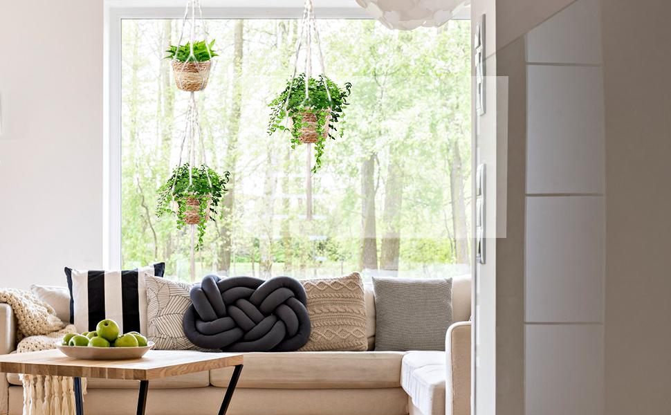Hanging Planters Indoor Seagrass Planter Flower Baskets for Boho Home Decor Gift Pots Holder
