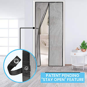 screen door, patent pending stay open feature, fly screen, augo