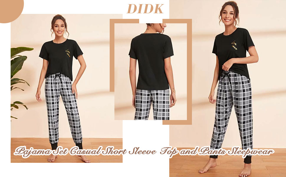 DIDK Women's Pajama Set Casual Short Sleeve Top and Pants Sleepwear