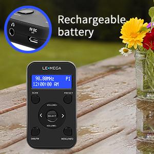 lemega portable digital dab dab+ fm radio lock key 20 station presets rechargeable battery