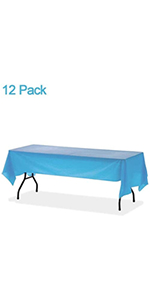 12-Pack Plastic Disposable Table Cloth Sky Blue Rectangle