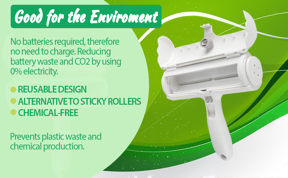 Reusable design no batteries or power source required alternative to sticky rollers