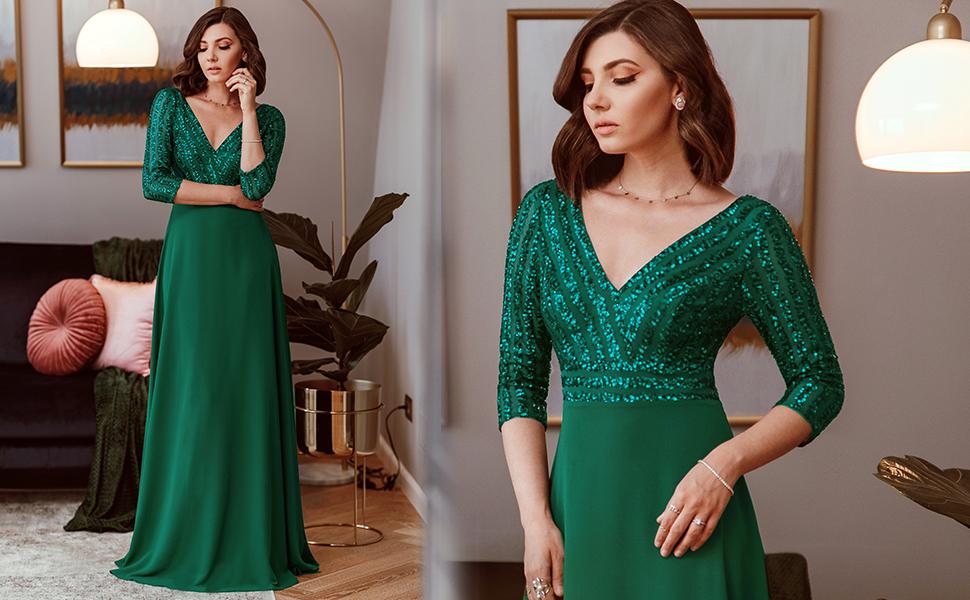 Ever Pretty A-line Deep V-neck Chiffon Sequin Formal Dress for Women Wedding Guest Gowns Maxi Dress