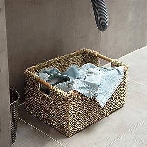 Seagrass wicker baskets for bathroom