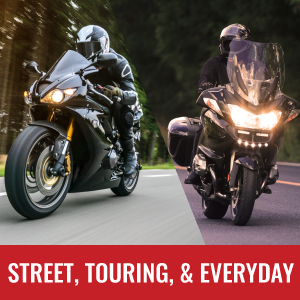 Good for street, touring, and everyday riding.