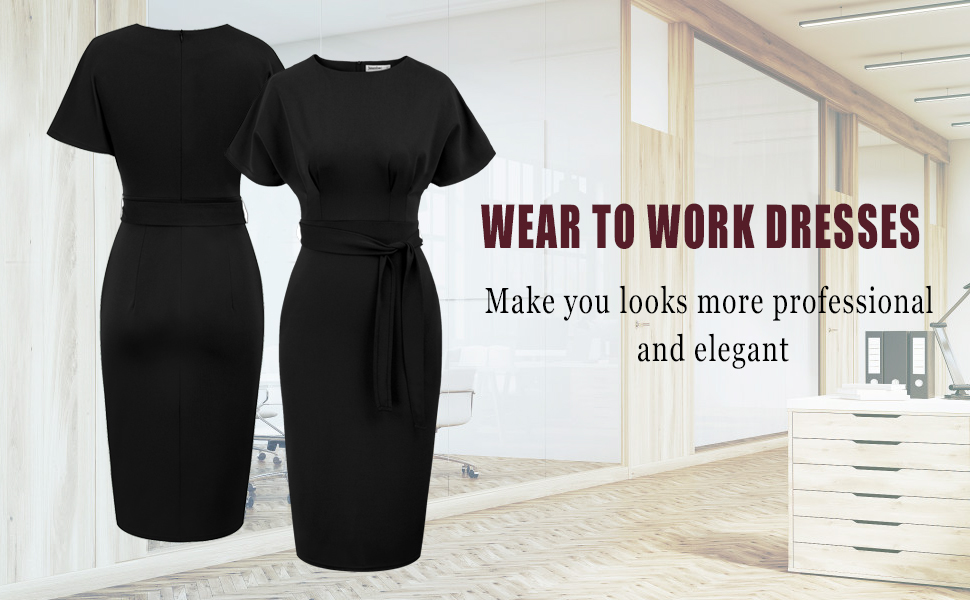 JASAMBAC Womens Bodycon Pencil Dress Office Wear to Work Dresses with Pocket Belt