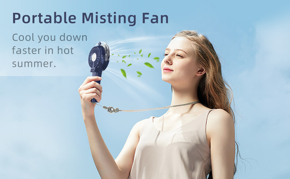 Vcenty Fan Handheld Misting Fan Portable Fan with Personalized Cooling Humidifier Quiet USB or Rechargeable Battery Powered Water Spray Fan