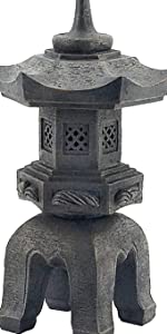 Asian Decor Pagoda Lantern Outdoor Statue, Large 17 Inch, Polyresin, Two Tone Stone Finish