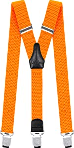 Mens Suspenders Heavy Duty with Strong Clips Big Tall Braces Adjustable Neon Orange