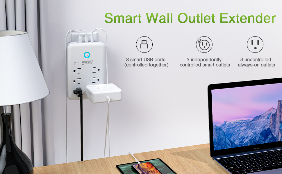 gosund smart wall outlet extender plug socket works with alexa google home