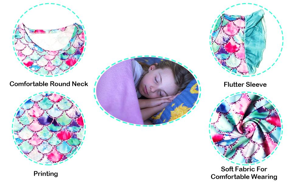 YRCUONE Girls Nightgown Flutter Sleeve Nightdress Sleepwear Pajamas Dress for Kids 5-12 Years