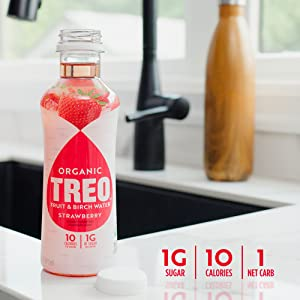 Treo Water Brch Strawberry Organic 16 oz