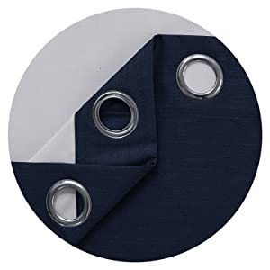 Deconovo Blackout Solid Curtains for Dining Room with Back Coating Grommets Navy Blue