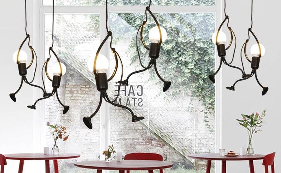 Pendelleuchte HeTaiDa Metall Retro Vintage Industrie LED Kronleuchter E27 Lampenfassung Geeignet f/ür Wohnzimmer Schlafzimmer B/üro